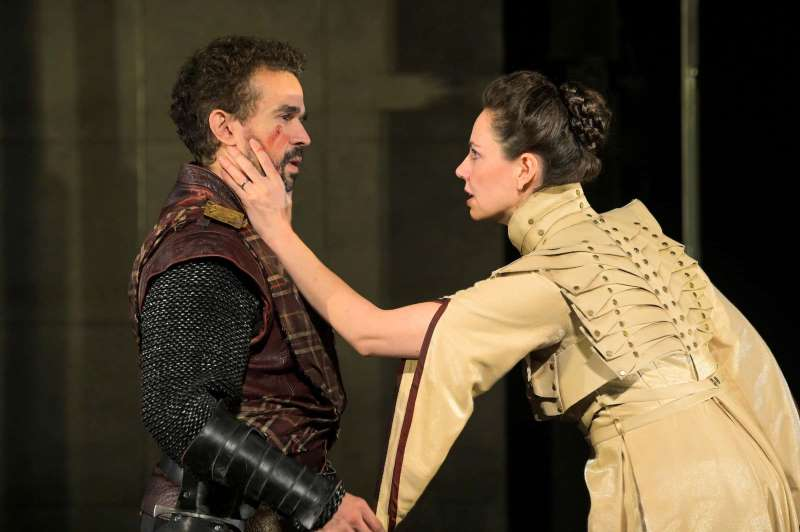 Rey Lucas and Liz Sklar in Cal Shakes' 'Macbeth.'
