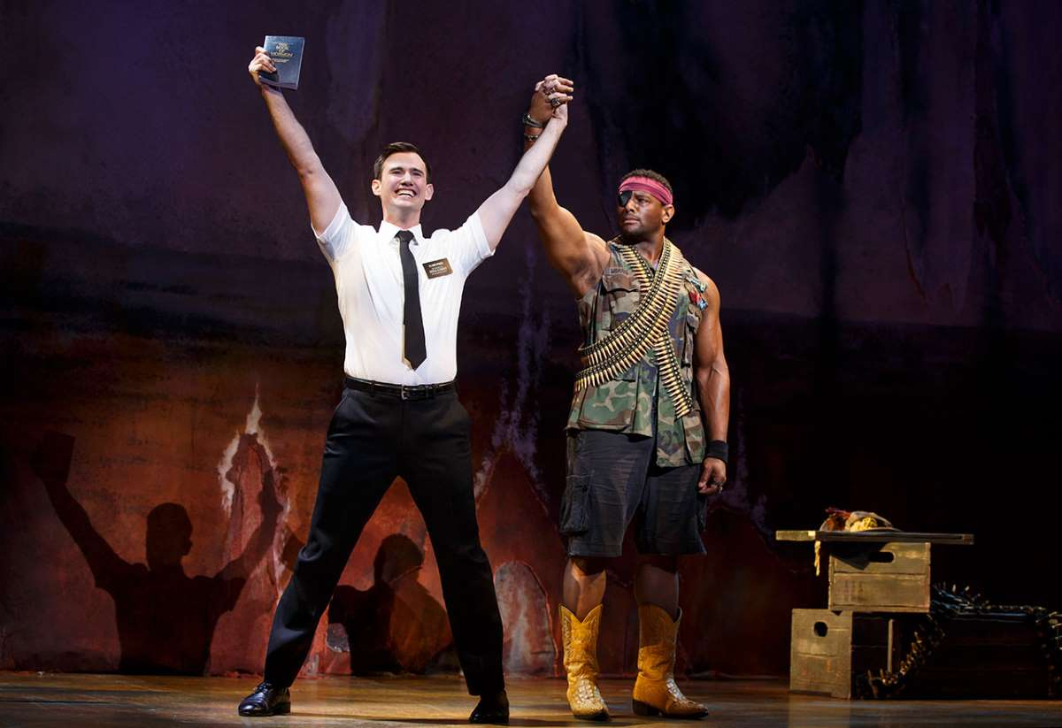 Ryan Bondy and David Aron Damane in The Book of Mormon.