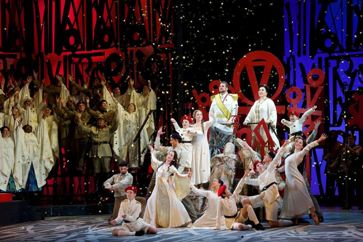 David Pomeroy and Elena Gabouri with cast of Aida