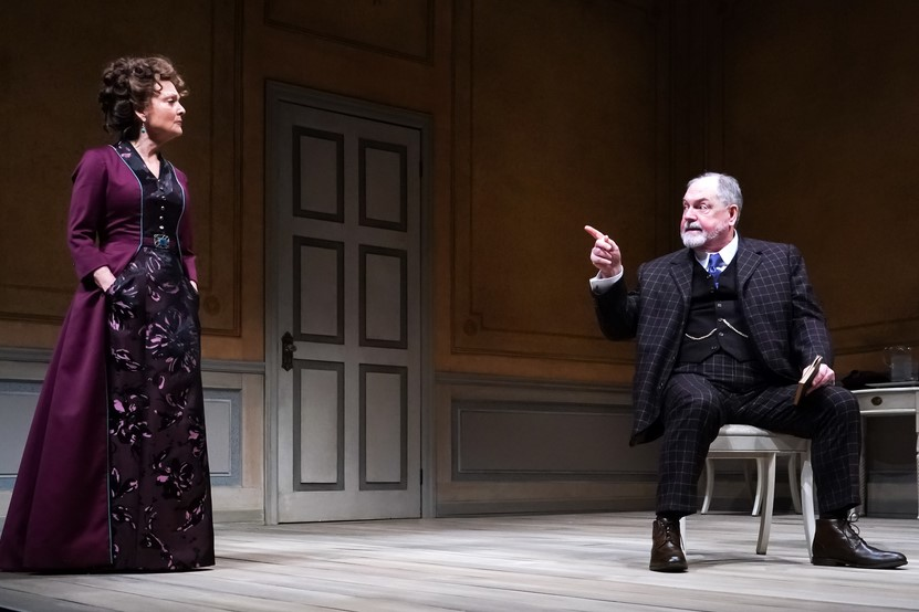 A Doll's House Part 2 at Seattle Repertory Theatre. Michael Winters (Torvald Helmer) and Pamela Reed (Nora Helmer).