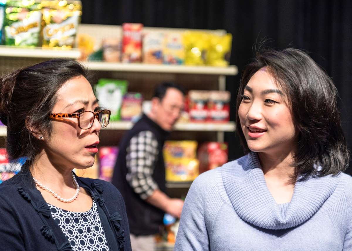 James Yi, Annie Yim and Lia Lee in Kim's Convenience at Taproot Theatre