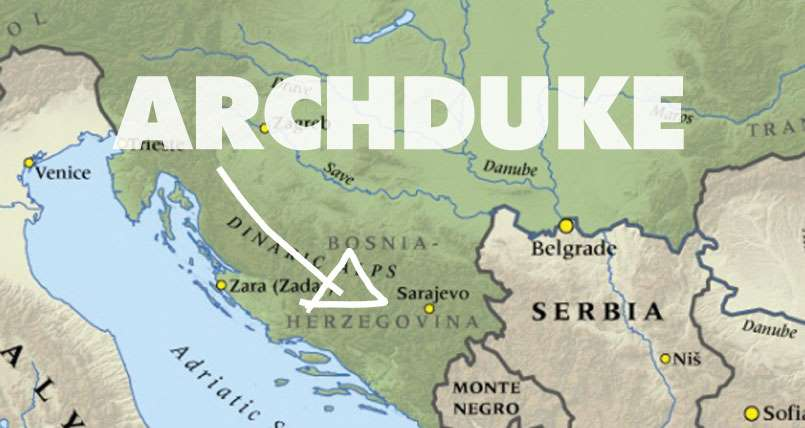 Promotional artwork for TheatreWorks' Archduke