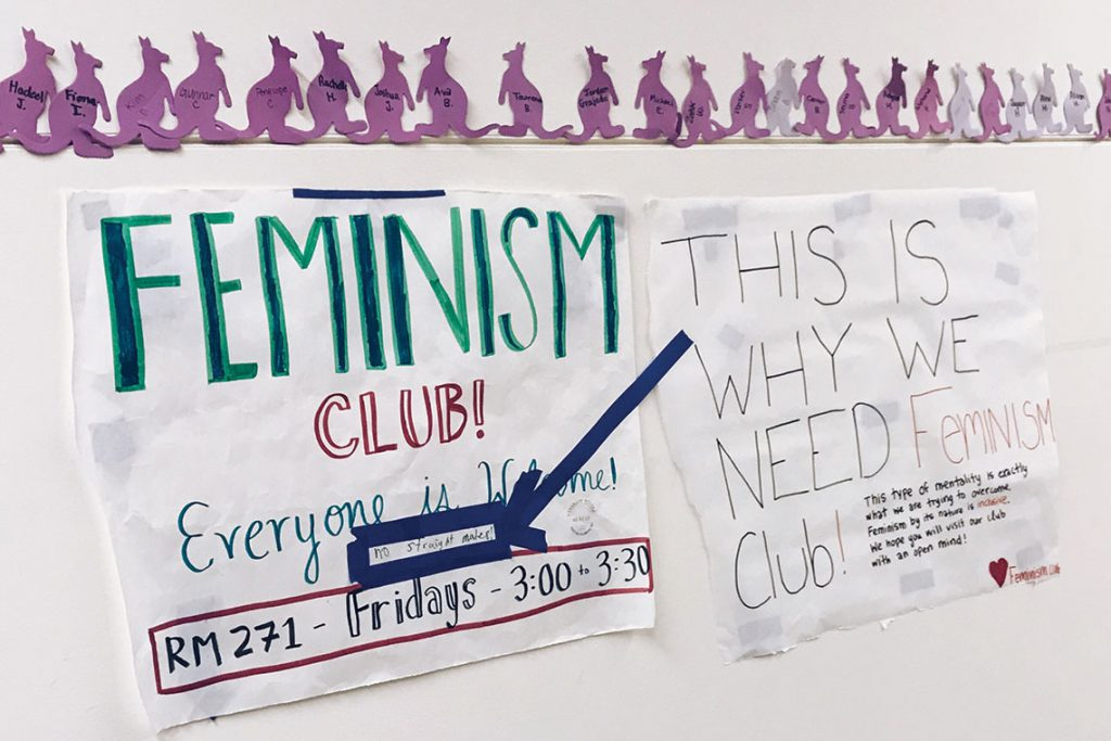 """""""Everyone is welcome"""" sign for Ali's Feminism Club"""