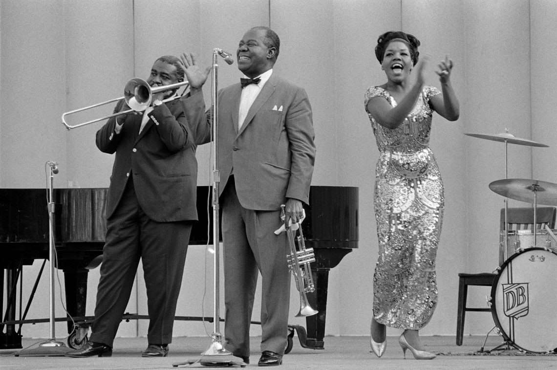 Louis Armstrong performing at Frost Amphitheater