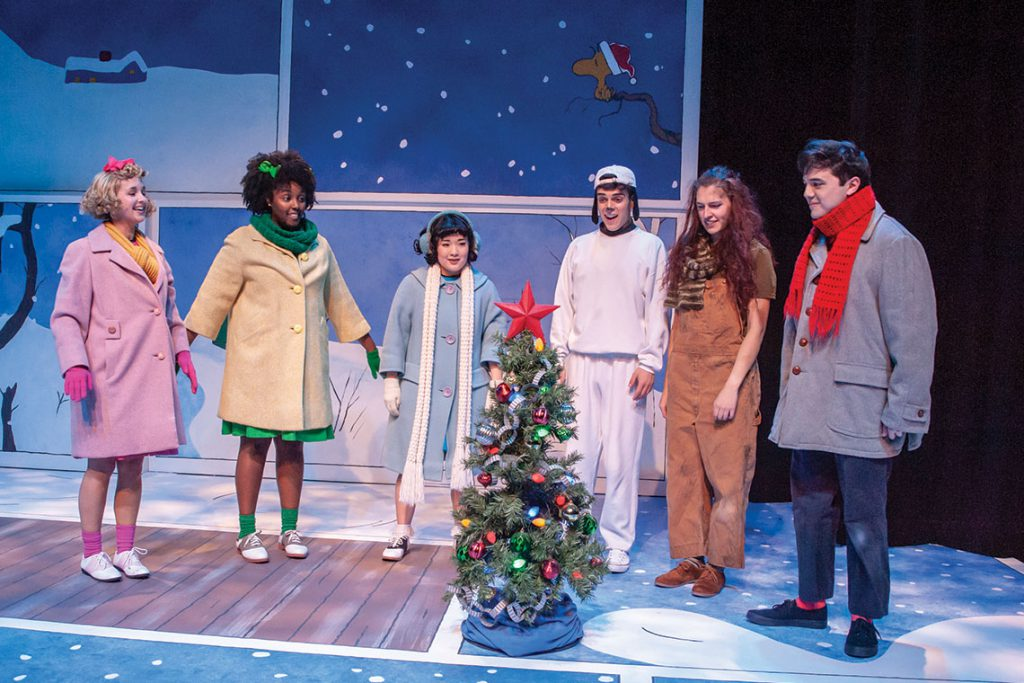 Sarah Diener, Maya Burton, Arika Matoba, Coulson Bingham, Julee Felts and Brad Walker in Taproot Theatre's 2018 production of A Charlie Brown Christmas