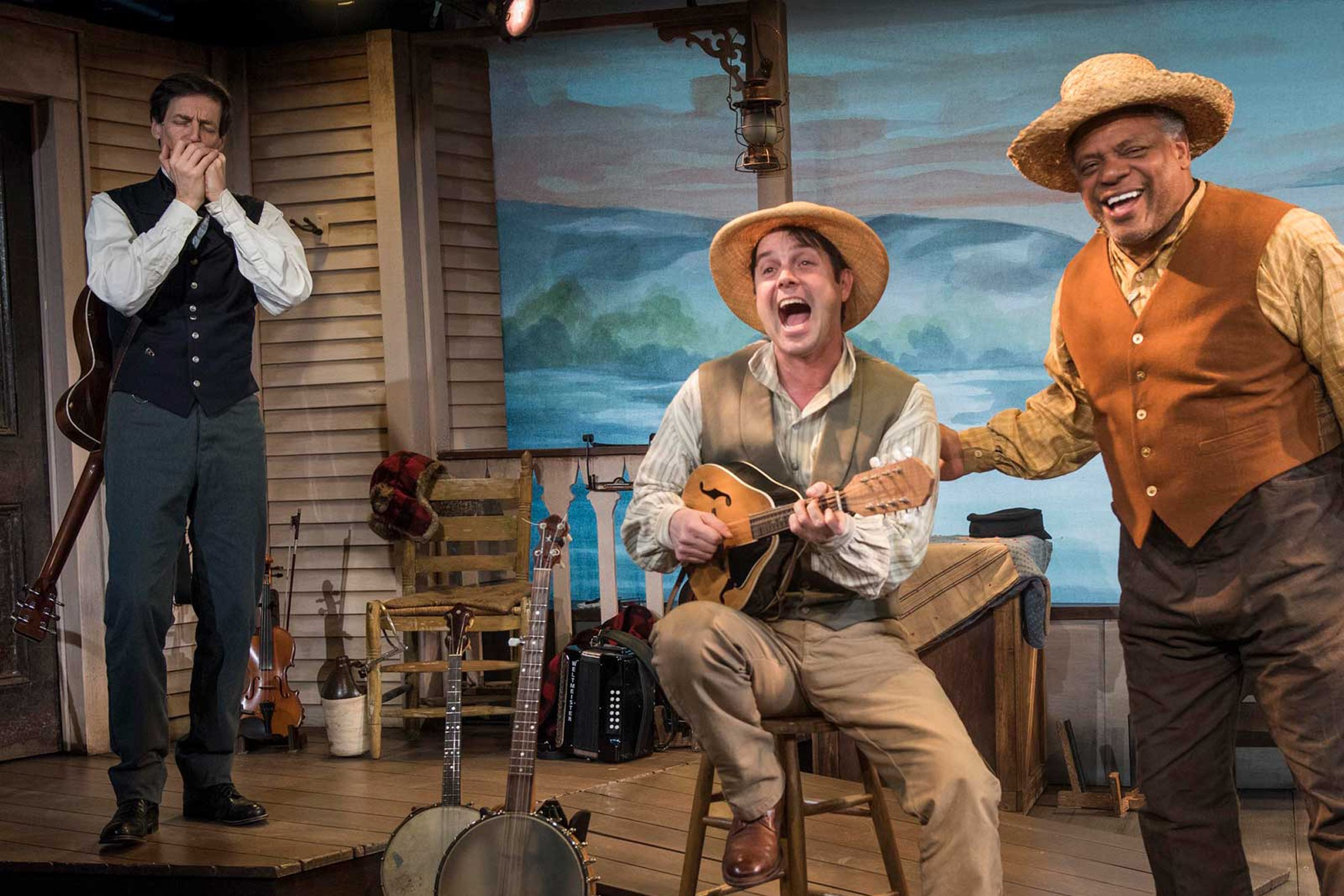 David Lutken, Spiff Weigand, and Harvy Blanks in Milwaukee Repertory Theatre's production of Mark Twain's River of Song
