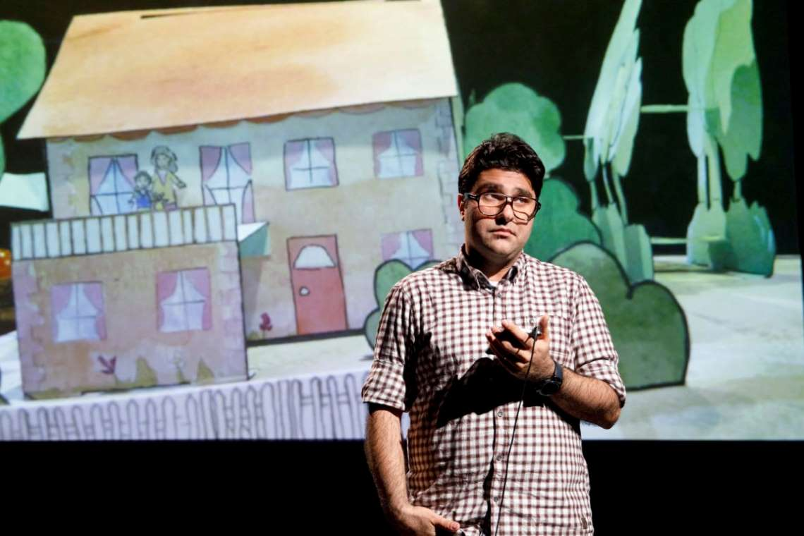 Playwright Nassim Soleimanpour in his production NASSIM