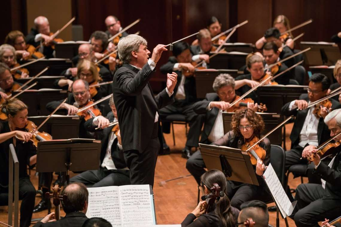 Thomast Dausgaard conducting the Seattle Symphony