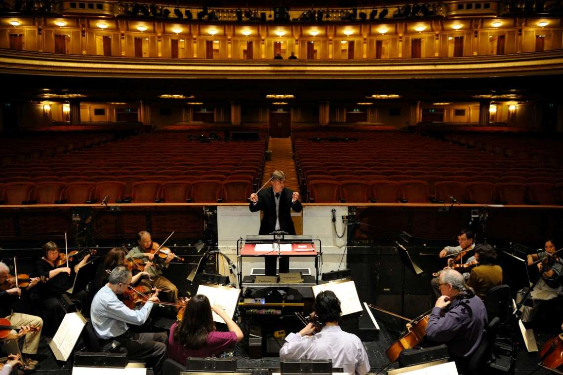 San Francisco Ballet Orchestra and Musical Director Martin West in rehearsal. Courtesy of San Francisco Ballet