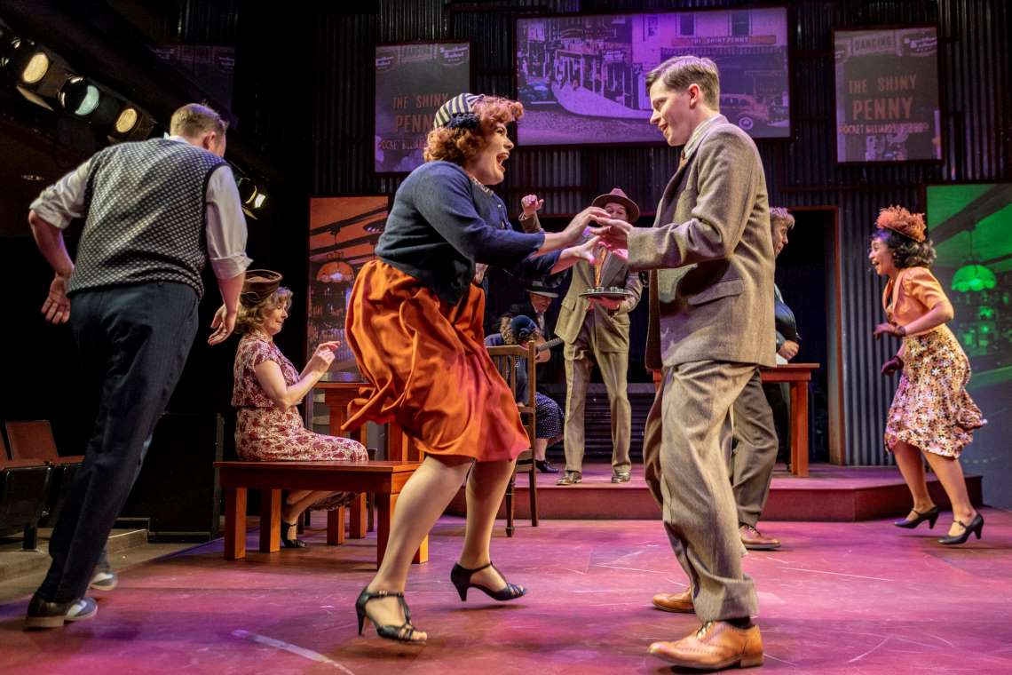 Gloria Lee Alcalá, Mike Spee and the cast of 'Bright Star' cut it up in the 1940s style at Taproot Theatre.