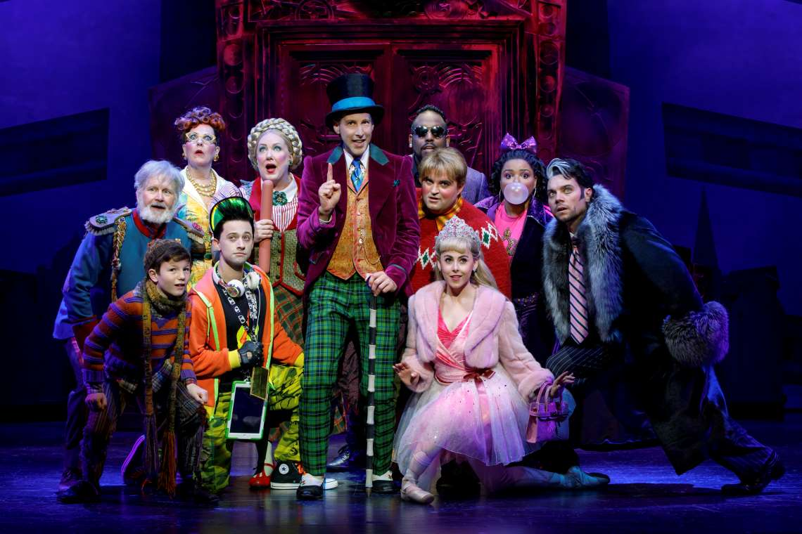 The touring cast of Broadway's Charlie and the Chocolate Factory with adults playing all characters except Collin Jefferey (Charlie).