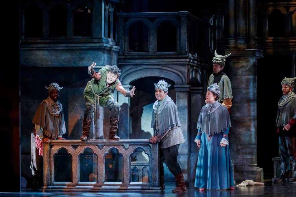 E.J. Cardona as the Voice of Quasimodo, Joshua Castille as Quasimodo, and ensemble in 'The Hunchback of Notre Dame.'