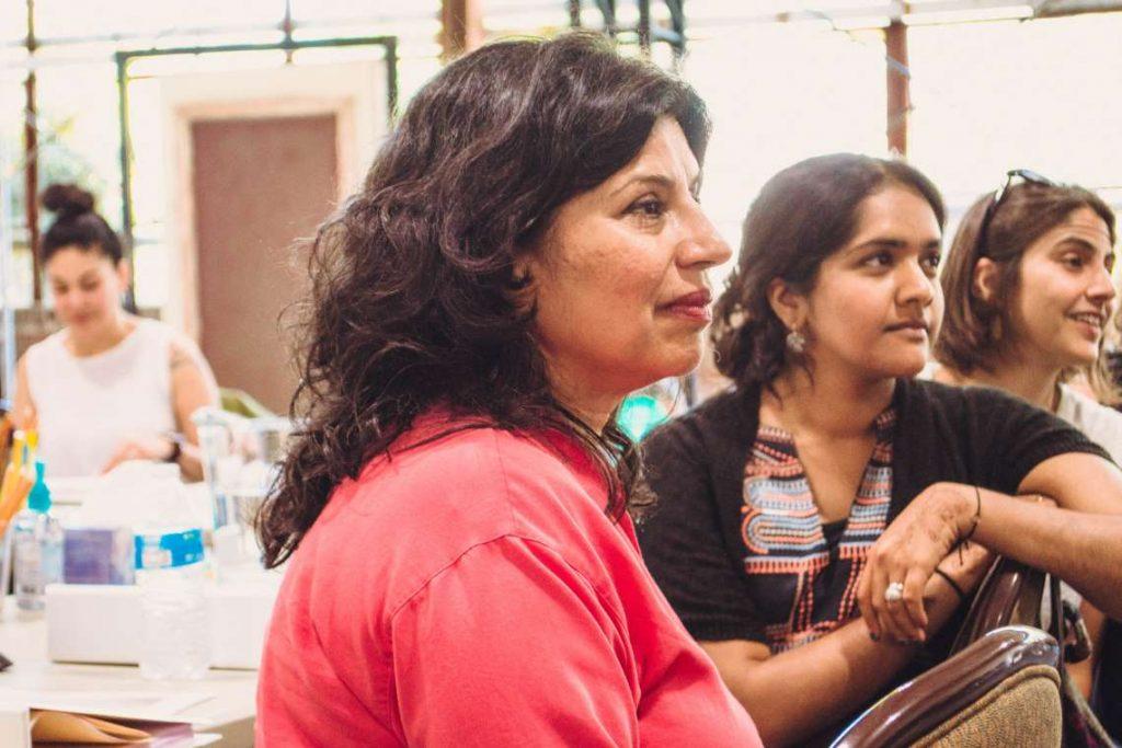 Dramaturg Vidhu Singh, Playwright Madhuri Shekar and Director Megan Sandberg-Zakian in rehearsal.