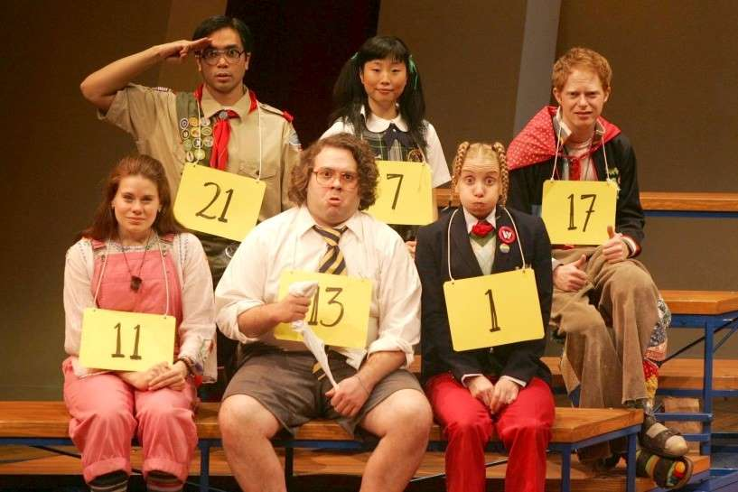 The cast of the original Broadway production of The 25th Annual Putnam County Spelling Bee, which was also a full cast of adults playing the grade school characters.