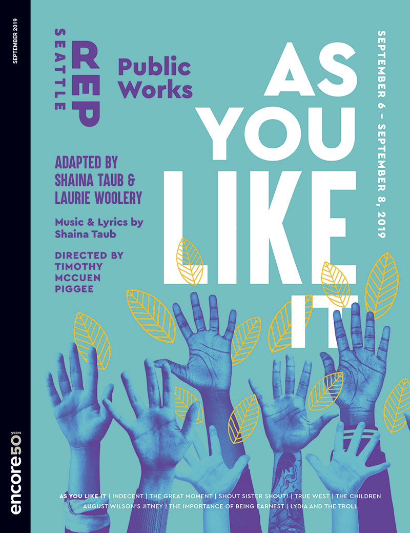 Cover art fior As You Like it at Seattle Rep 2019.