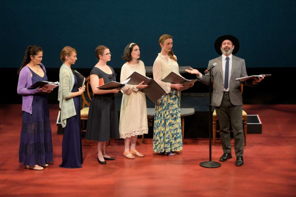 "The Bennet sisters (Adrienne Kaori Walters, Monique Hafen Adams, Melissa Wolfklain, Hannah Corneau, and Shannon Rietkerk) meet Mr. Collins (Brian Herndon) in a reading of ""Pride and Prejudice"" at TheatreWorks Silicon Valley's 2018 New Works Festival."