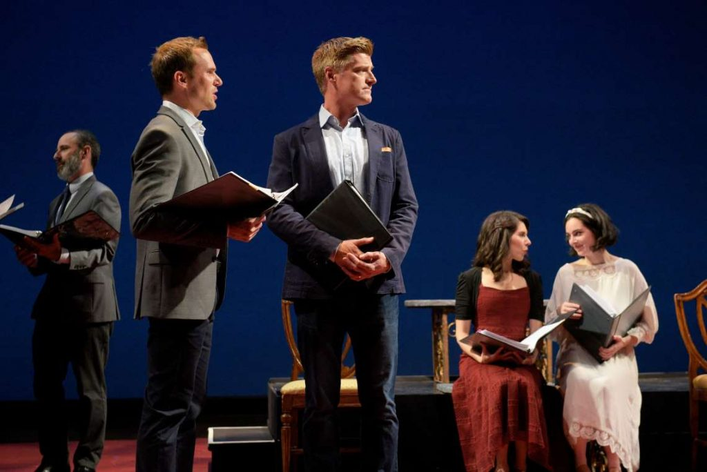 "Brian Herndon, Adam Shonkwiler, Sean Allan Krill, Dani Marcus and Hannah Corneau in a reading of ""Pride and Prejudice"" at TheatreWorks Silicon Valley's 2018 New Works Festival."