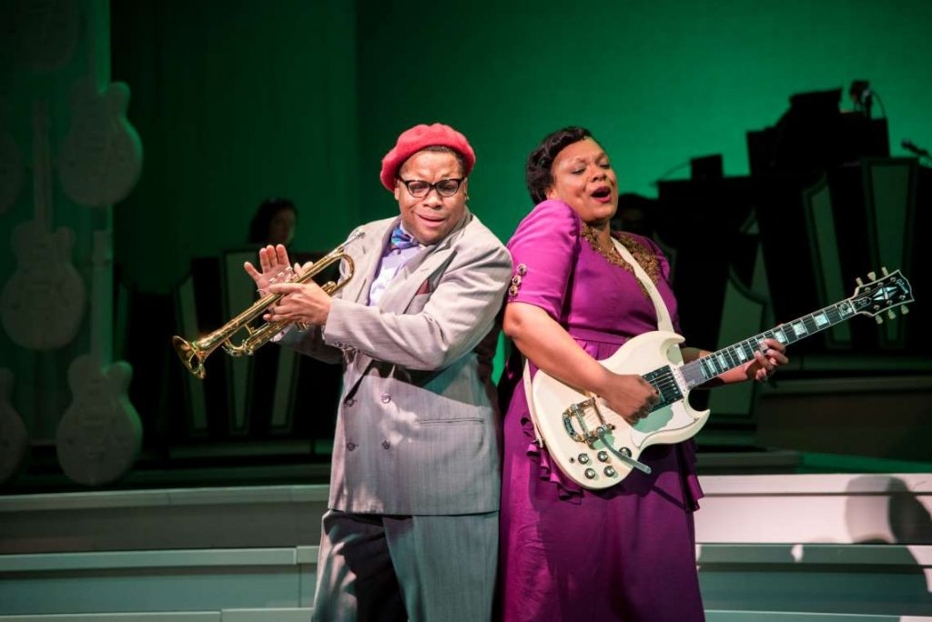 Chaz Rose and Carrie Compere in 'Shout, Sister, Shout!' at Seattle Rep.