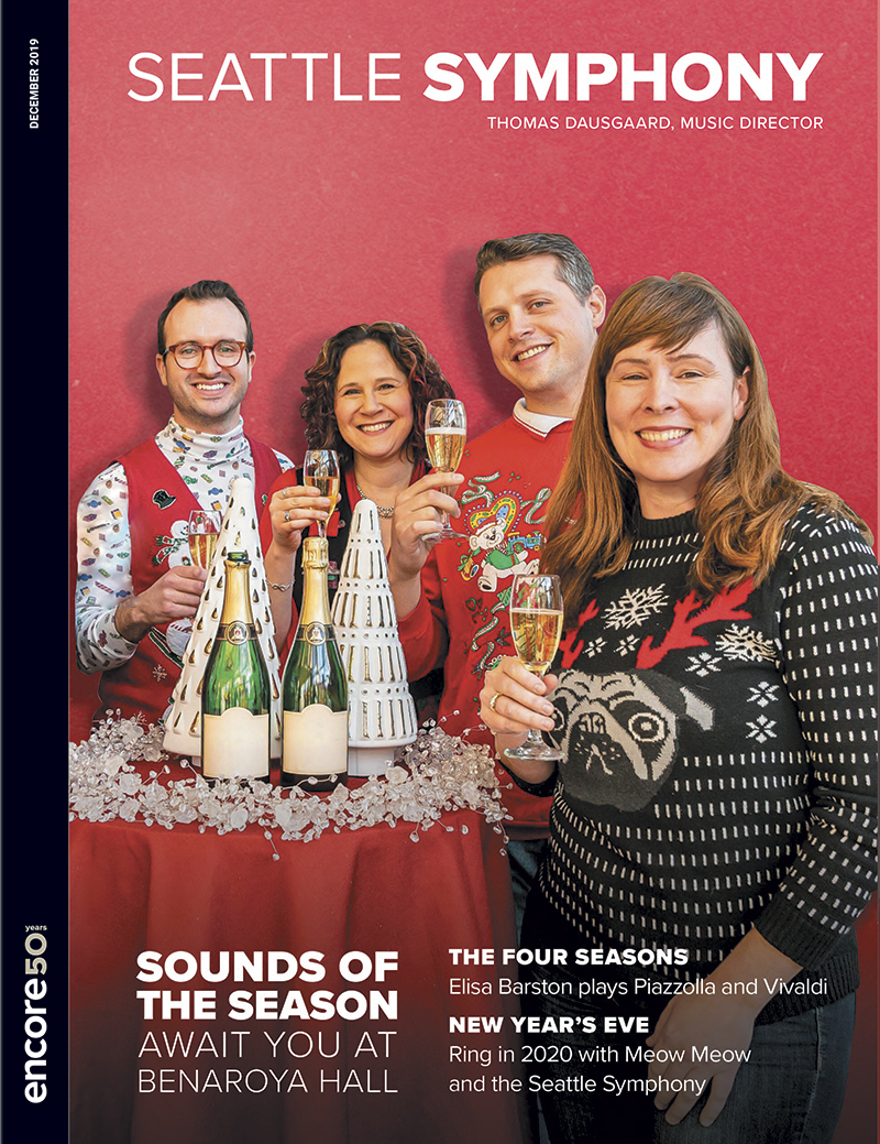 Cover for December 2019 at the Seattle Symphony.