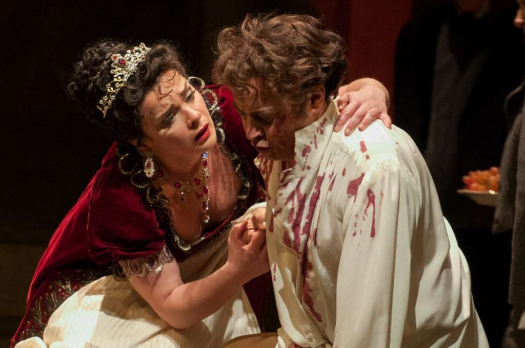 Ausrine Stundyte and Stefano Secco in Seattle Opera's 2015 production of 'Tosca'.
