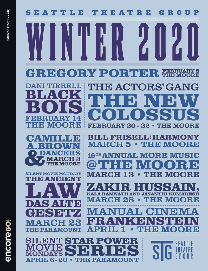 Cover for Winter 2020 at Seattle Theatre Group.