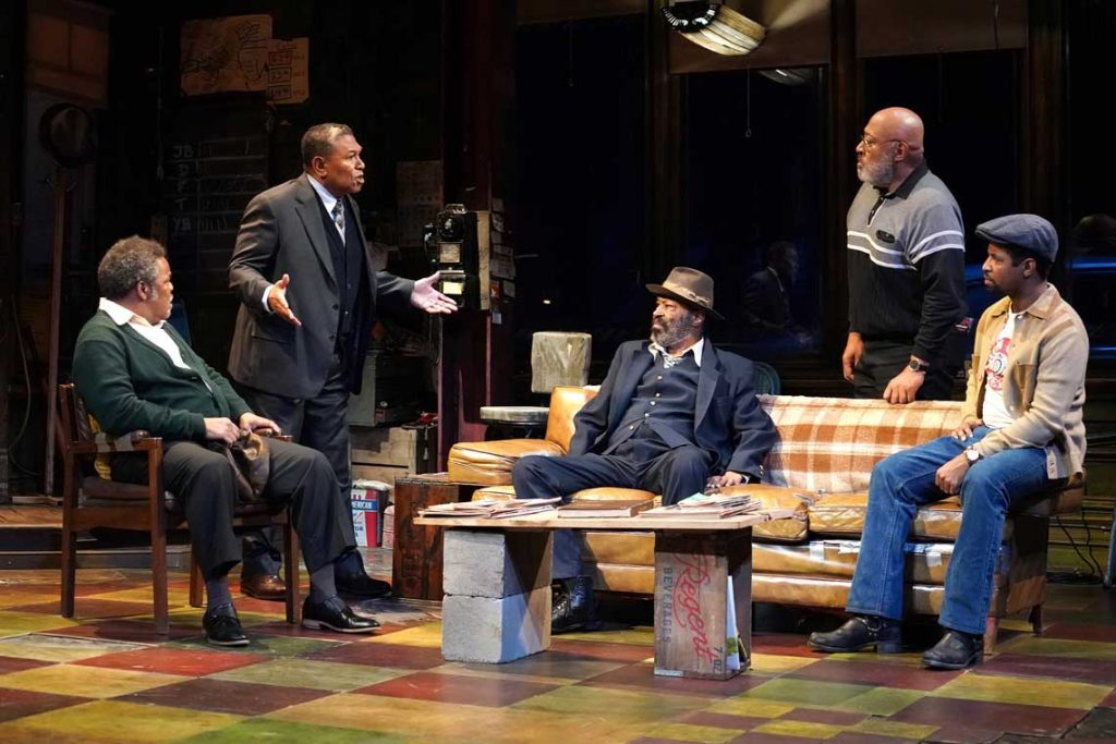 Cast of 'Jitney' with Keith Randolph Smith second from right in Manhattan Theatre Club production.