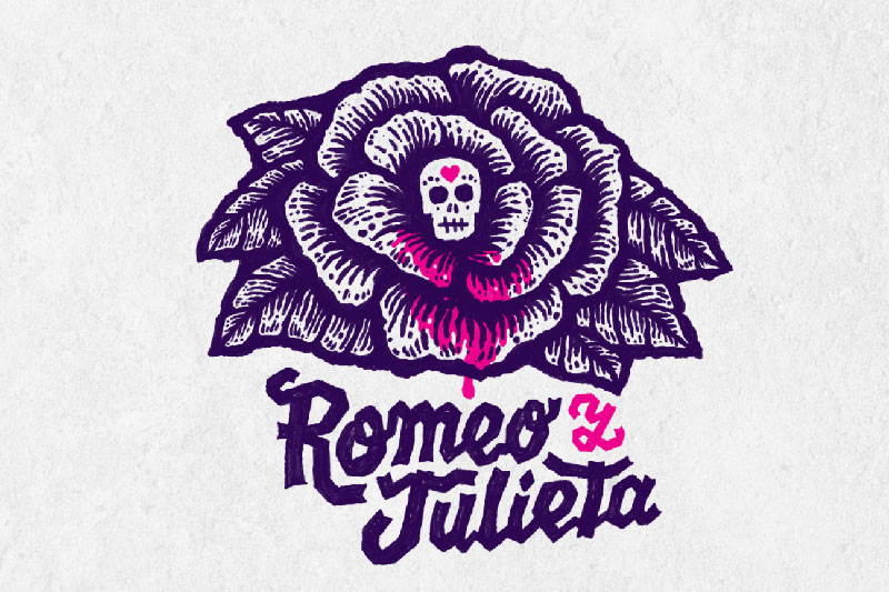 decorative image for Romeo y Juleta of a skull with a plant