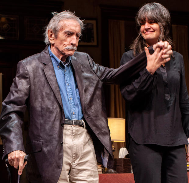 "Late playwright Edward Albee with A.C.T. Artistic Director Pam MacKinnon at the opening of ""Who's Afraid of Virginia Woolf?"" in New York City in 2012."