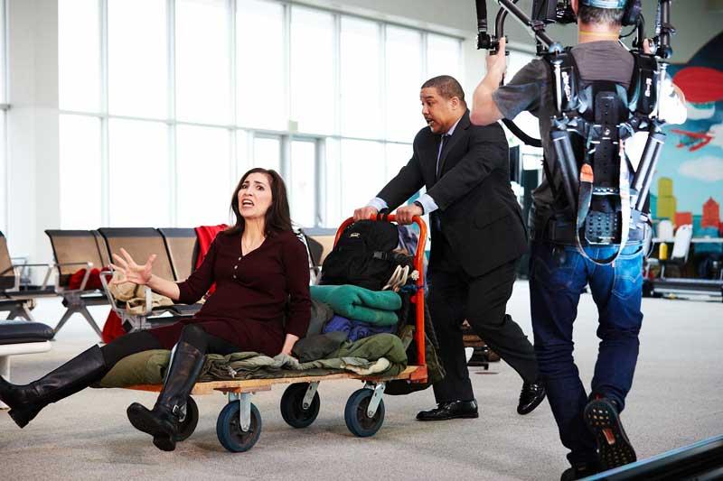 "Opera singers Karin Mushegain and Aubrey Allicock filming a scene in ""Flight""."