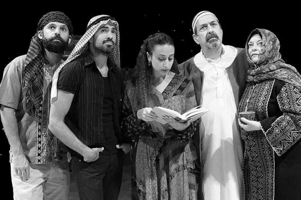 "Hassan Nazari-Robati, Netanel Bellaise, Maria Habeeb, David Studwell, Bobbi Kotula in ""Abraham's Land""."