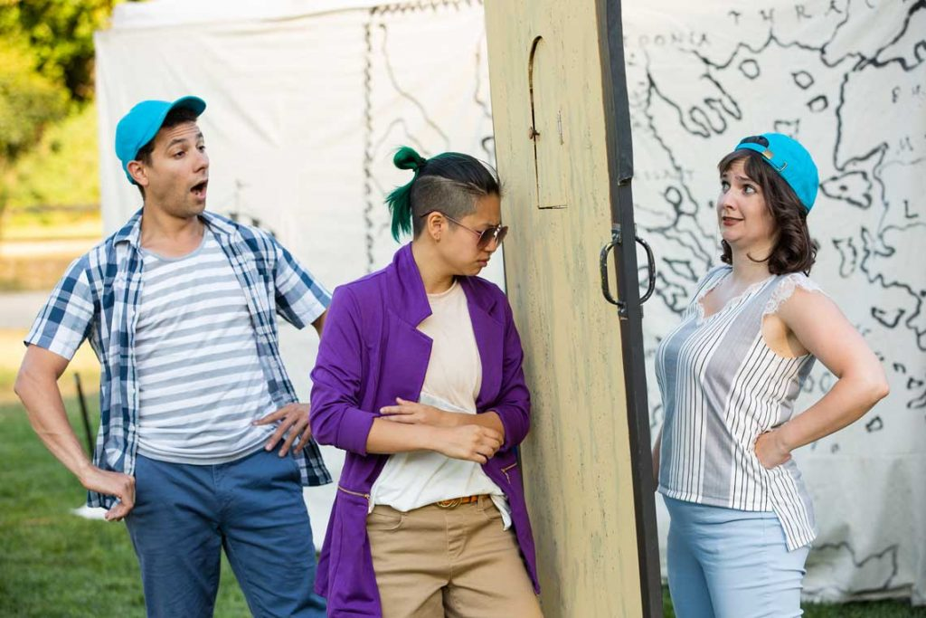 """Rico Lastrapes, MJ Daly and Kelly Karcher in """"The Comedy of Errors."""""""